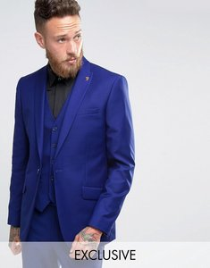 Read more about Farah slim fit bright millbank twill suit jacket - blue