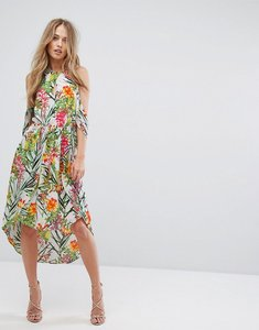 Read more about Adelyn rae lianna hi-low printed cold shoulder dress - white green