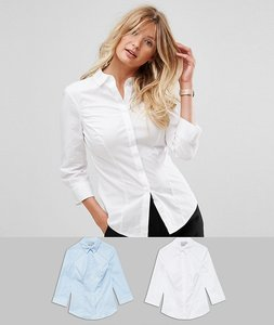 200a40426e Read more about Asos design fuller bust 3 4 sleeve shirt in stretch cotton  2 pack