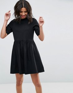 Read more about Asos mini ultimate cotton smock dress - black