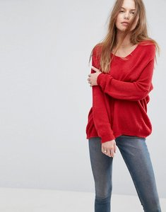 Read more about Asos jumper in sheer knit with v neck - red