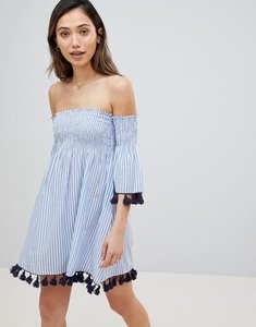 Read more about Influence off shoulder stripe print beach dress - blue stripe