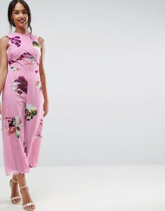 Read more about Asos jumpsuit in large rose floral print - multi