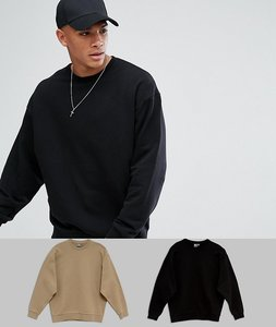 Read more about Asos oversized sweatshirt 2 pack beige black save - black tawny