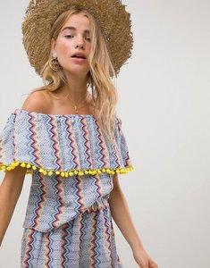 Read more about Glamorous bandeau crop top with pom pom trim in zig zag stripe co-ord - zig zag stripe