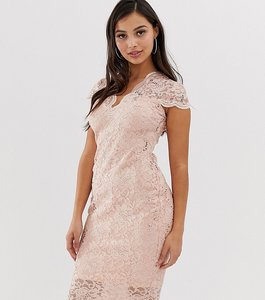 Read more about Flounce london petite scalloped sequin lace midi dress with cap sleeve in soft pink