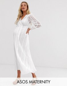 Read more about Asos design maternity lace insert wrap maxi dress