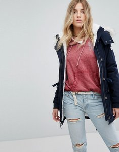 Read more about Hollister teddy lined parka - navy
