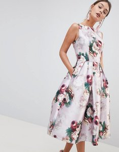 Read more about Chi chi london midi dress in floral print - pink multi