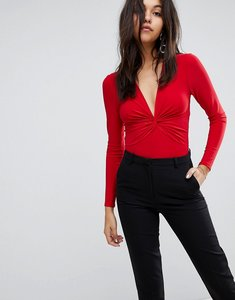 Read more about Miss selfridge twist front body - red