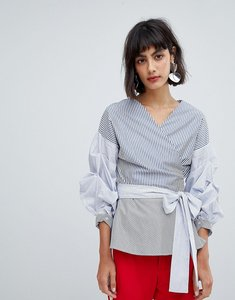 Read more about In wear sami contrast stripe blouse with ruched sleeve - blue stripe