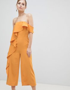 Read more about Lavish alice off shoulder culotte jumpsuit with frill - tangerine