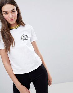Read more about Miss selfridge varsity motif t-shirt with contrast collar in white - white