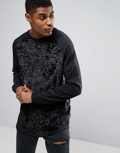 83f164f8d20cee Read more about Asos oversized long sleeve t-shirt in crushed velour with  contrast sleeves