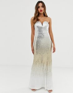 Read more about Tfnc bandeau maxi sequin dress in ombre gold sequin