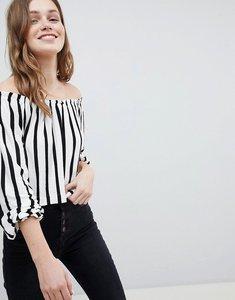 Read more about Bershka bardot top in slim stripe - multi