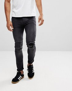 Read more about Religion biker jeans with rip repair knee detail in skinny fit with stretch - washed black