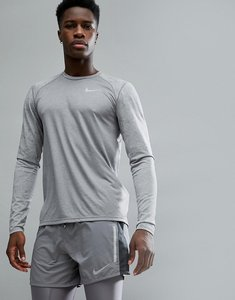 Read more about Nike running breathe miler long sleeve top in grey with arm print 904665-036 - grey