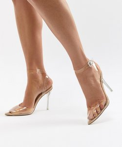 Read more about Missguided clear pointed court shoes - nude