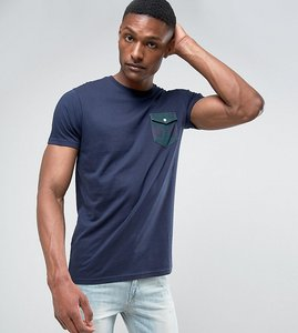 Read more about Brave soul tall printed check flap pocket t-shirt - navy
