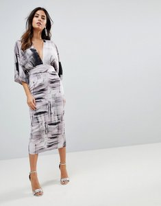 Read more about Asos kimono dress in abstract print - multi