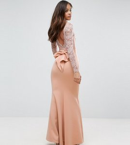 Read more about City goddess tall fishtail maxi dress with lace sleeves and bow back - nude
