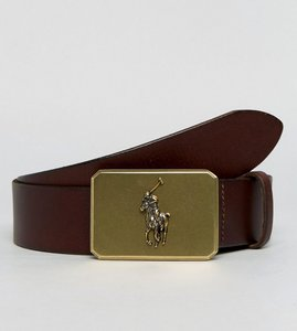 Read more about Polo ralph lauren plaque leather belt player logo in brown - dark brown