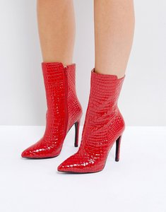 Read more about Public desire chile red patent textured heeled ankle boots - red patent