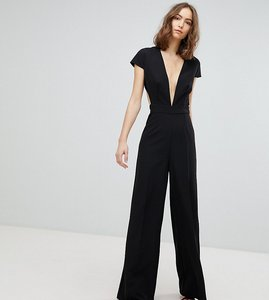 Read more about Asos tall plunge neck jumpsuit with wide leg and open back - black