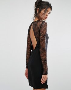 Read more about Vila lace sleeve open back dress - black