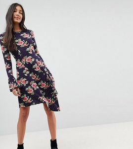 Read more about Asos tall mini dress with hanky hem and frill cuff in spot floral print - multi
