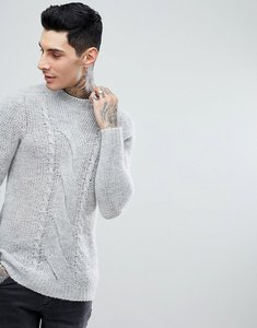 Read more about Asos cable knit mohair wool blend jumper in grey - grey