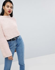 Read more about Missguided flare sleeve knitted jumper - pink