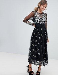 Read more about Oasis embellished mesh midi dress - black