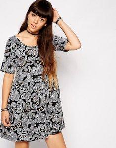 Read more about Asos paisley diamonte smock dress - black