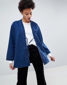 Read more about Waven imma unisex belted kimono jacket - over dyed indigo
