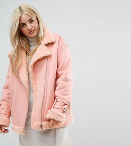 Read more about Asos curve aviator jacket in faux leather - coral