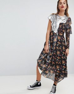 Read more about Asos sequin mix ditsy raw edge print midi tea dress - multi