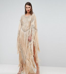 Read more about A star is born kimono midi dress with tassles - nude silver gold