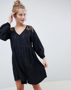 Read more about Asos design v neck button through mini smock dress with long sleeves and lace inserts - black