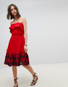 Read more about Asos bandeau midi dress with broderie hem - red