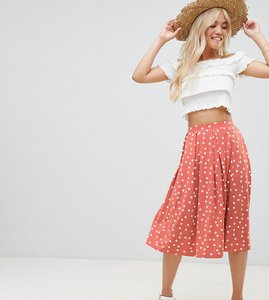 Read more about Asos design petite midi skirt with box pleats in polka dot - rose white spot