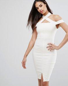 Read more about Vesper cold shoulder pencil dress with split - cream