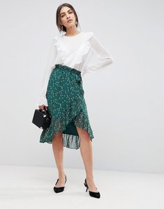 Read more about Y a s floral wrap skirt with ruffle - multi