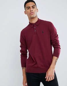 Read more about Polo ralph lauren pima cotton knitted polo with player logo in burgundy - classic wine