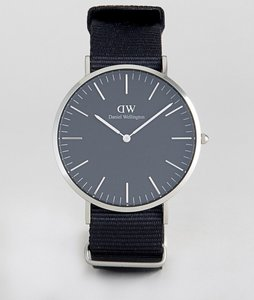 Read more about Daniel wellington classic black cornwall nato watch with silver dial 40mm - black