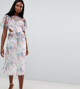 Read more about Asos design tall midi mesh tea dress in floral print with cut out detail - multi