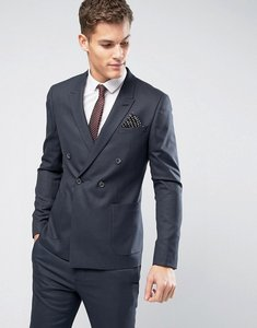 Read more about Asos wedding skinny double breasted suit jacket in indigo micro texture - navy
