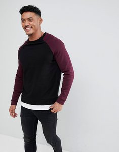 Read more about Asos design sweatshirt in black with burgundy raglan sleeves - black red white