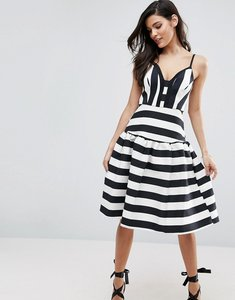 Read more about Asos curved stripe trumpet hem midi prom dress - mono
